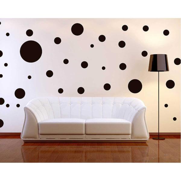 BugyBagy Siyah Yuvarlak Duvar Sticker Polska Dots Karışık 360 Adet