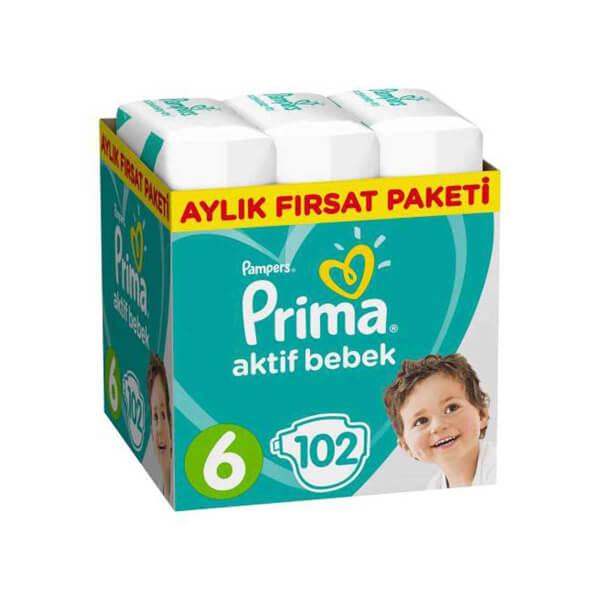 Prima 102'li Bebek Bezi Aktif Bebek Ekstra Large 6 Beden 13-18 Kg Aylık Fırsat Paketi