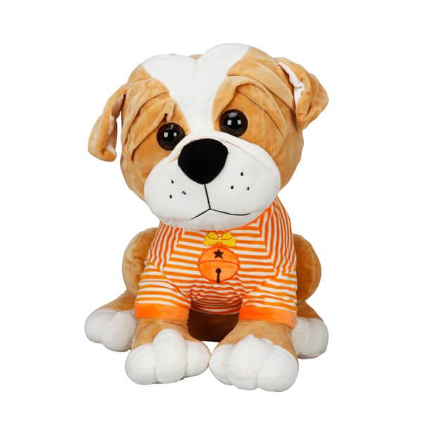 Çizgili Tişörtlü Oturan Peluş Köpek 36 cm.