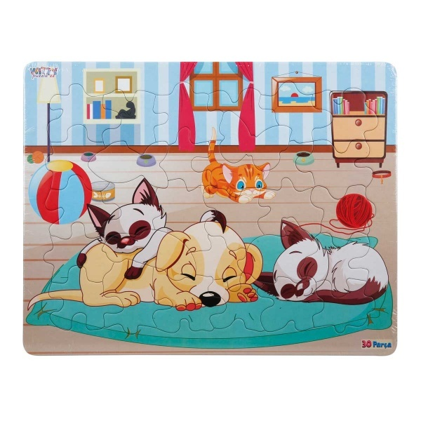 30 Parça Puzzle : Köpek ve Kediler