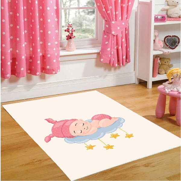 Firstmoon Uyuyan Bebek Çocuk Halısı Pembe 100 x 160 cm.