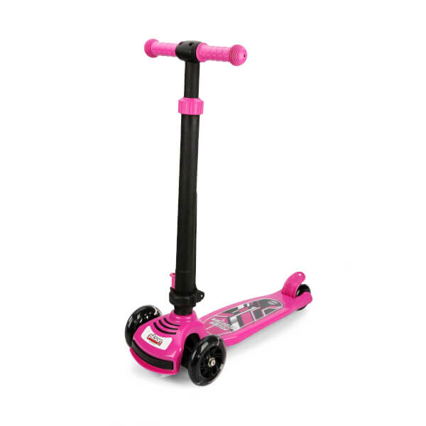 Power Led Işıklı 3 Tekerlekli Katlanabilir Pembe Scooter