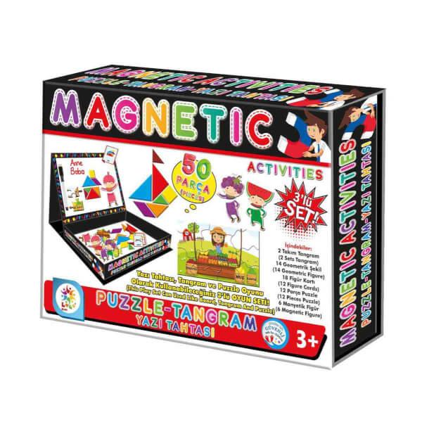 Manyetik Puzzle - Tangram Yazı Tahtası 50 Parça 3'lü Oyun Seti